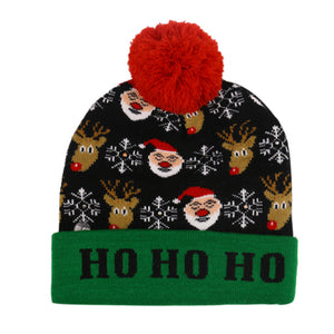 Child warm christmas hat with LED lights