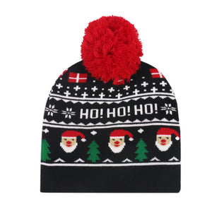 Baby warm Christmas knitted jacquard hat
