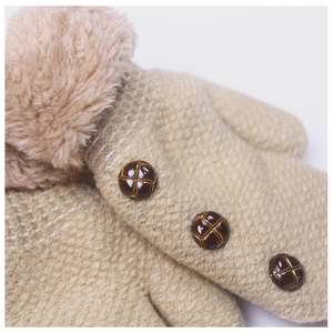 Cute button fashion kids keep warm in winter