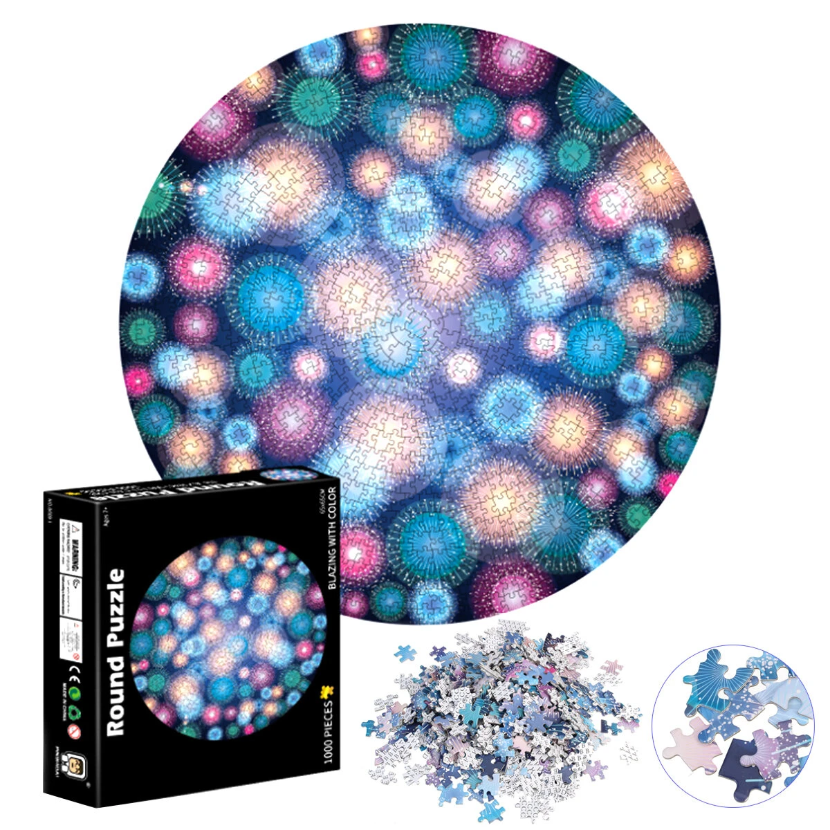 1000 Pieces Round Jigsaw Puzzle Blazing With Color Puzzle Family Puzzle Game Learning Education Toy Gift For Adults Kids