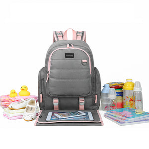 Large Travel Diaper Backpack- Unisex Bag with Changing Pad - MOMMORE