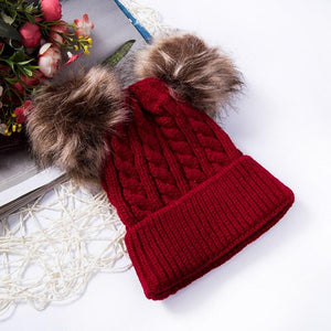 Baby knitted hat with warm pullover