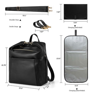PU Leather Diaper Bag Backpack - MOMMORE