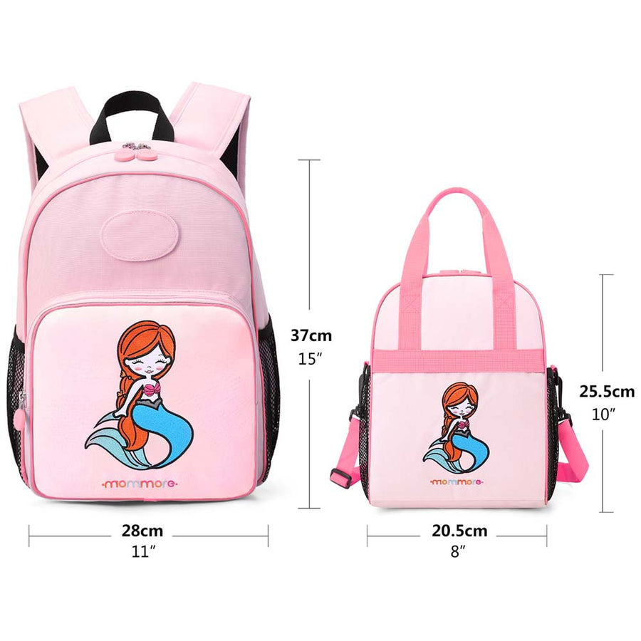 Little Mermaid Kids Backpack with Insulated Lunch Bag - MOMMORE
