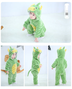 Baby winter terry cloth dinosaur pajamas warm cartoon