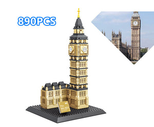 Building landmark model puzzle assembling building blocks