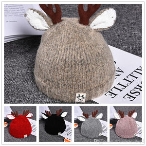Warm knitted antler baby hat classic Christmas party hat