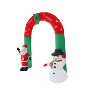 Santa snowman in inflatable christmas arch