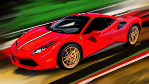 red Ferrari 488 - realcarartist