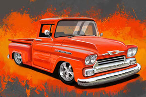 1958 Orange Chevy pickup - realcarartist
