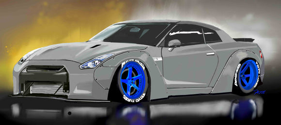 Grey Nissan GTR libertywalk - realcarartist