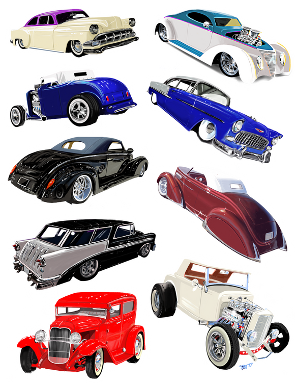 Hot Rod Sticker Set - realcarartist