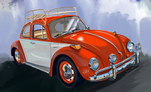 Orange VW bug - realcarartist