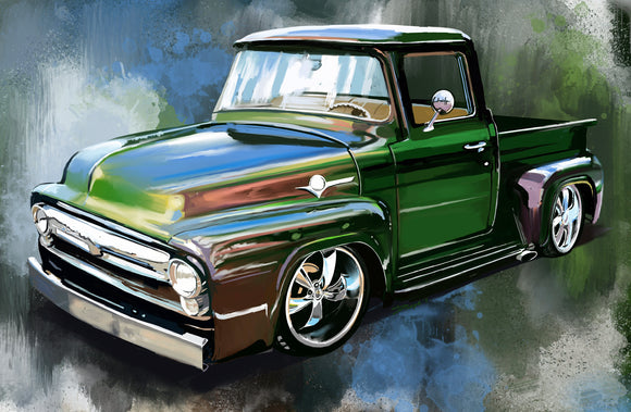 1955 Ford Blue green pickup - realcarartist