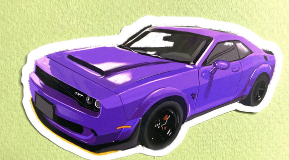 Purple Dodge Demon Sticker - realcarartist