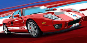 06 Red Ford Gt print - realcarartist