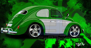 Green VW bug - realcarartist