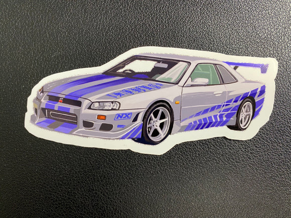 Nissan GT-R R34 skyline Sticker - realcarartist