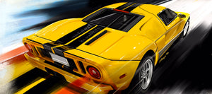 06 yellow Ford Gt print - realcarartist