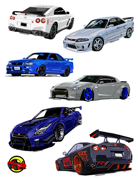 Nissan GT-R Assortment Stickers - realcarartist