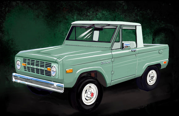71 Ford Bronco truck - realcarartist