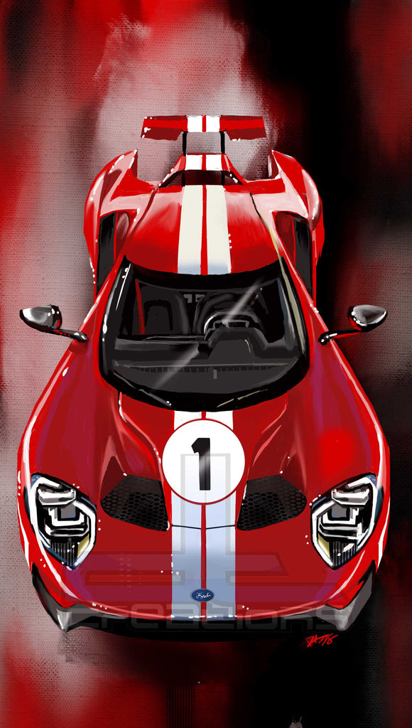 Overhead Ford Gt Heritage Edition Print - realcarartist