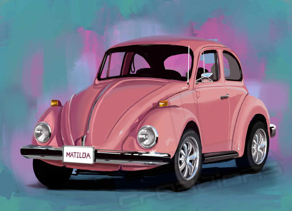 PINK VW bug - realcarartist