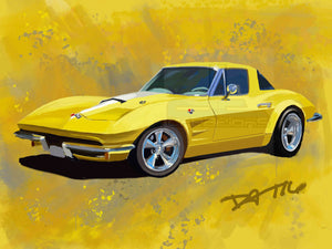 67 yellow Corvette - realcarartist