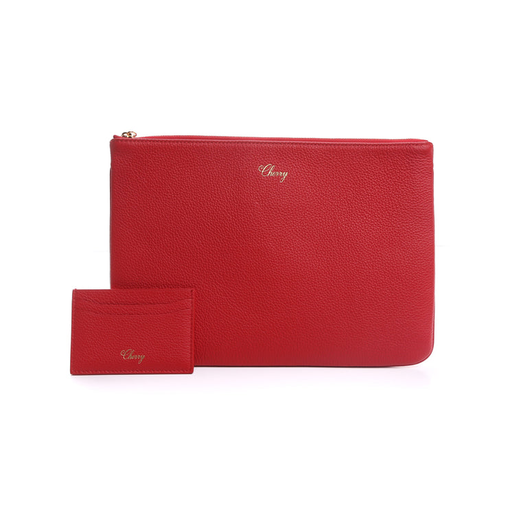 CHERRY LEATHER POUCH (RED)