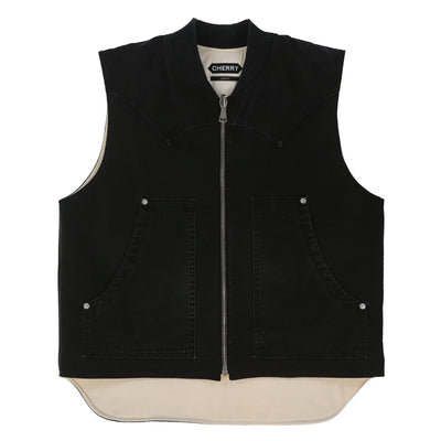 REVERSIBLE CANVAS WORK VEST (MIDNIGHT BLACK)