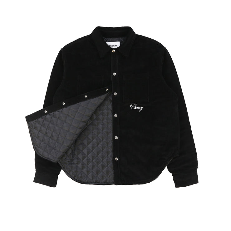 QUILTED CORDUROY SHIRT JACKET (BLACK)