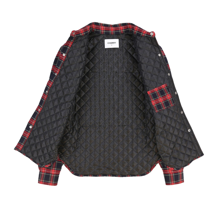 Quilted Flannel Shirt Jacket (Navy Plaid)