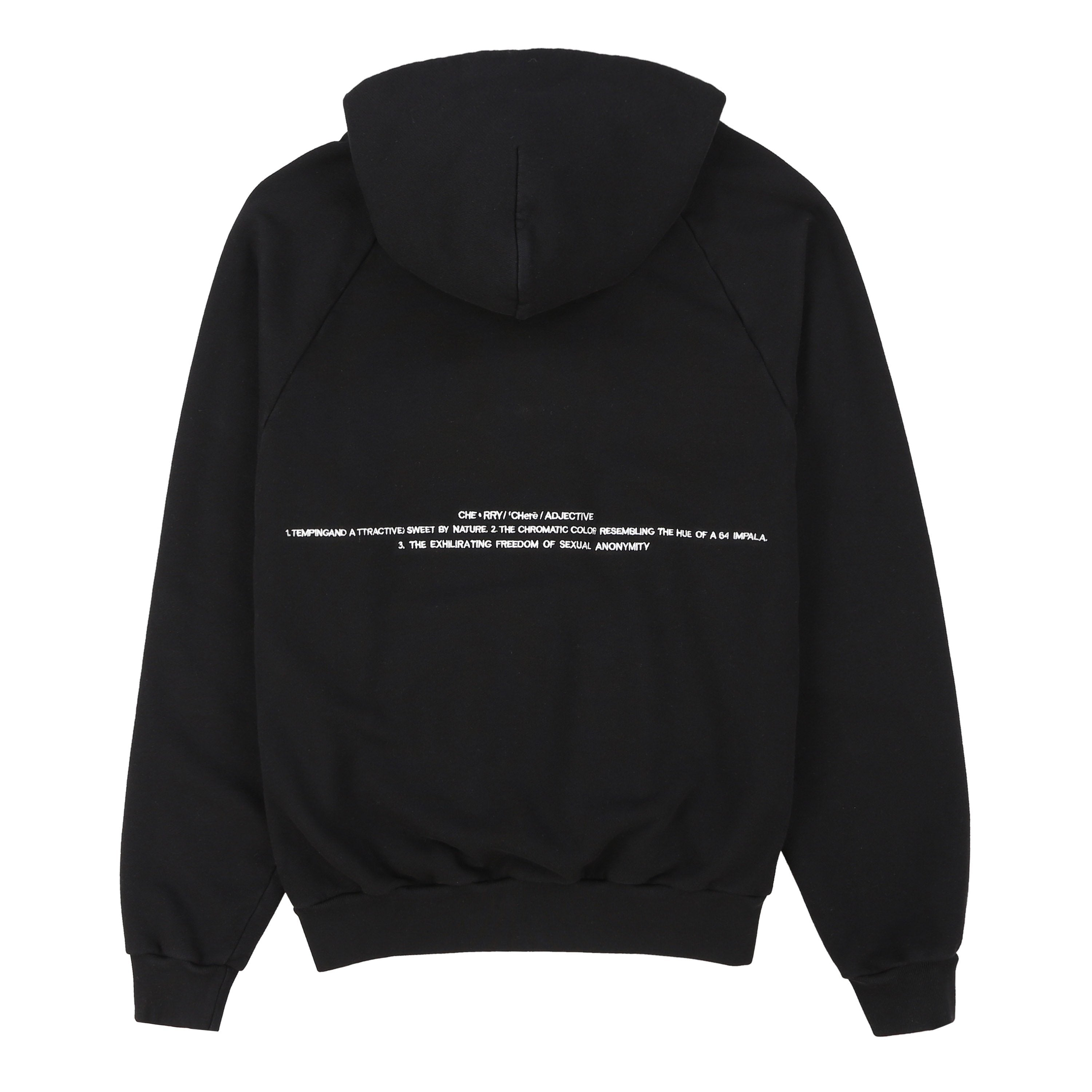CHERRY EMBROIDERED HOODIE (JETT BLACK)