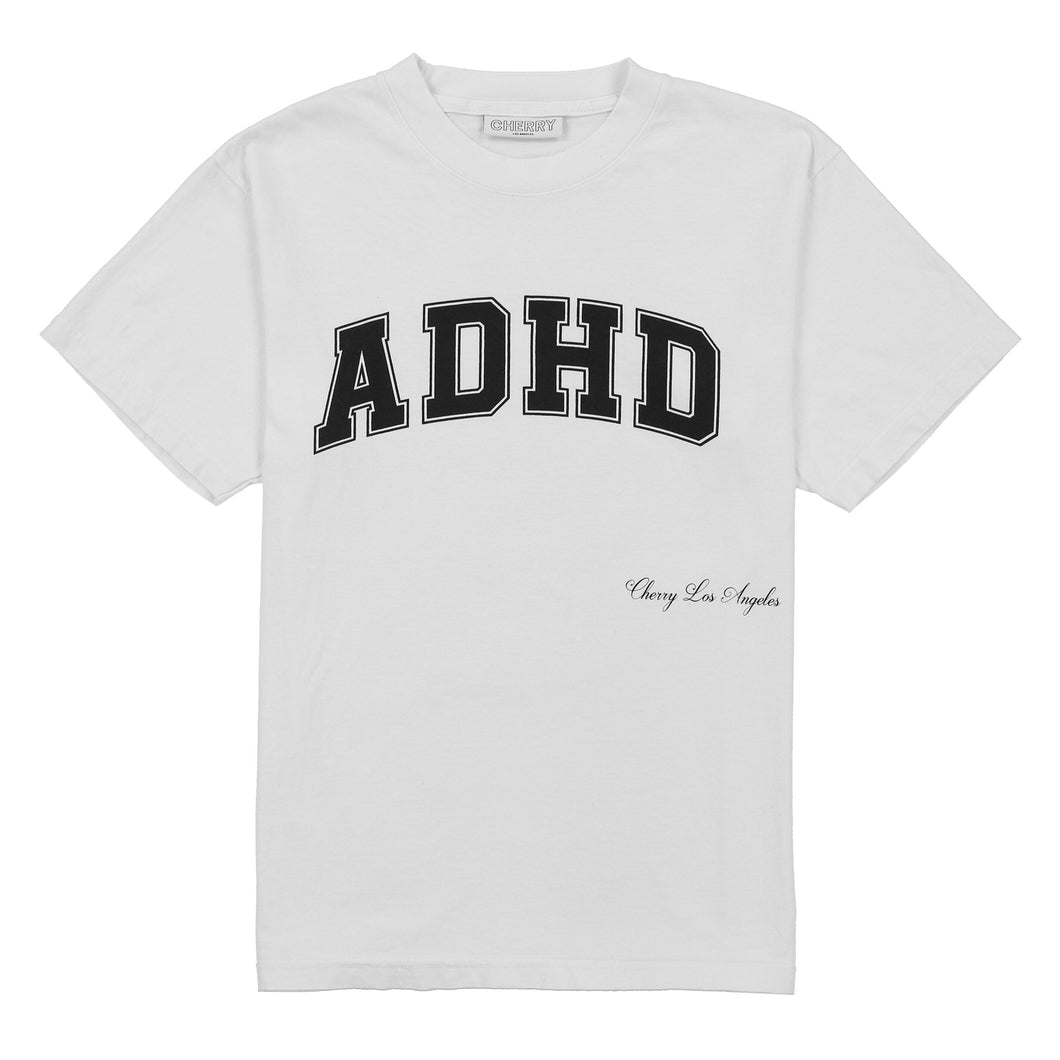 ADHD ATHLETIC T-SHIRT (WHITE W/ BLACK)