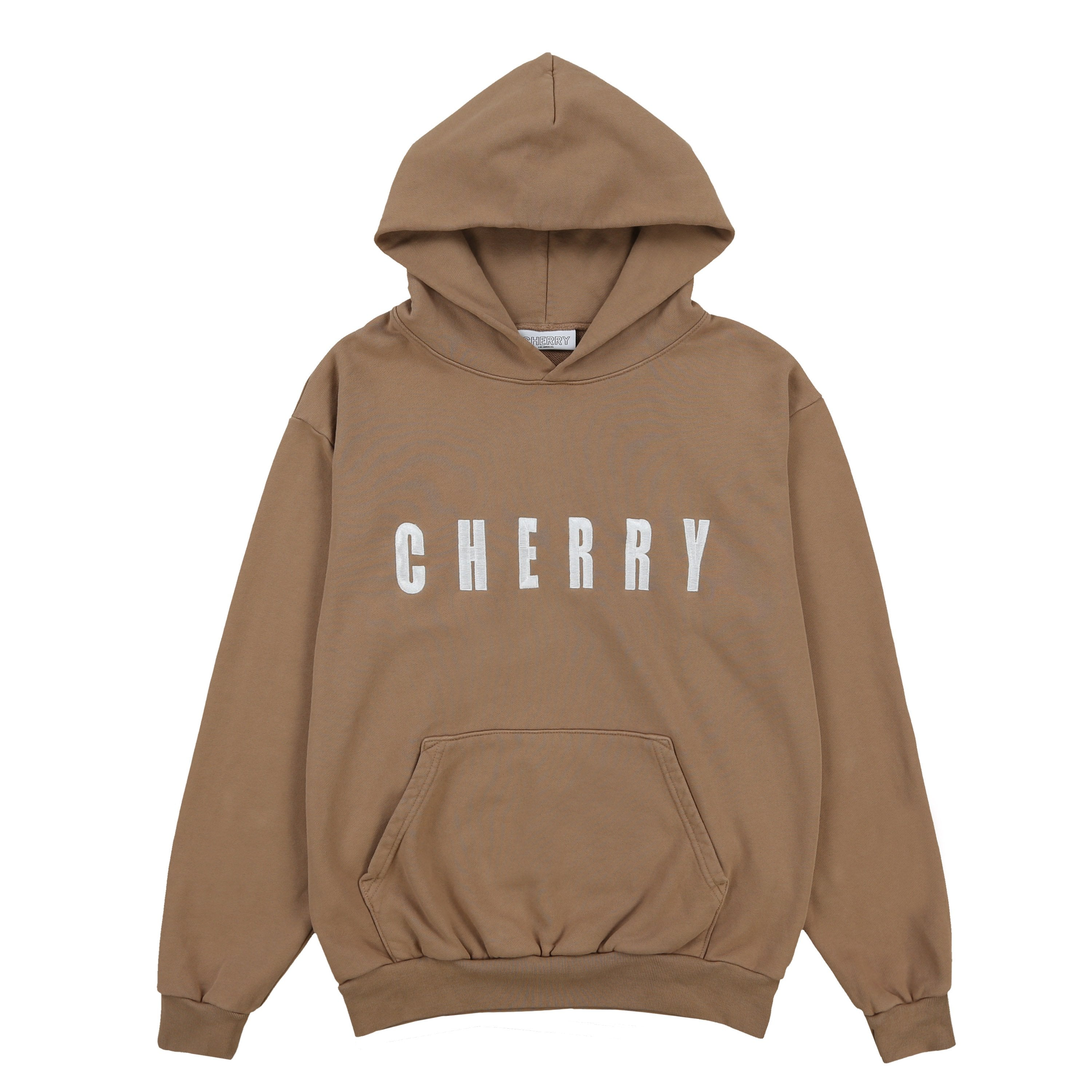 "CHERRY EMBROIDERED HOODIE ""ADHD""(PEANUT BUTTER)"