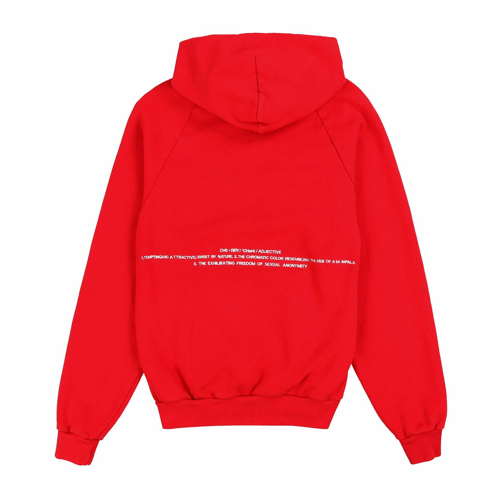 CHERRY EMBROIDERED HOODIE (CHERRY RED)