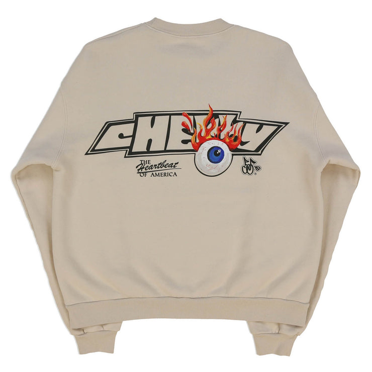 FLAMING EYEBALL CREWNECK SWEAT SHIRT (NATURAL)