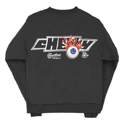 FLAMING EYEBALL CREWNECK SWEAT SHIRT (OFF BLACK)