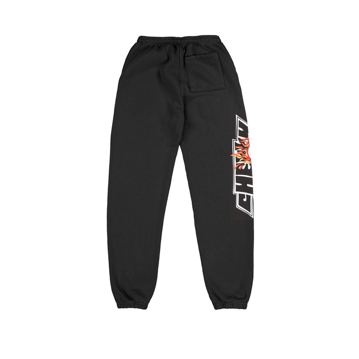 FLAMING EYEBALL SWEAT PANTS (OFF BLACK)