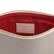CHERRY LEATHER POUCH (CREAM)