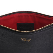 CHERRY LEATHER POUCH (BLACK)