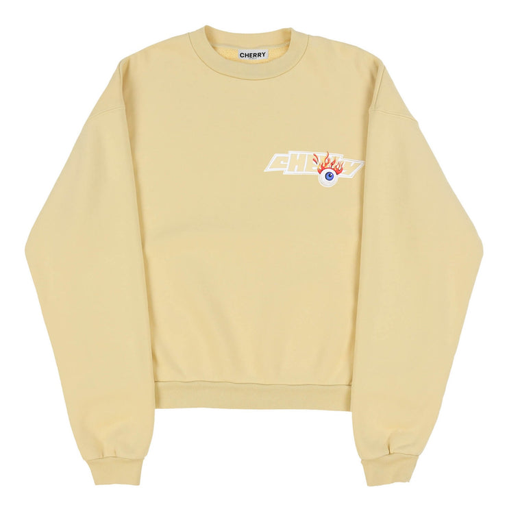 FLAMING EYEBALL CREWNECK SWEAT SHIRT (CANARY YELLOW)