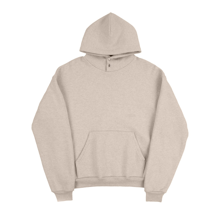 SNAP HOODED SWEATSHIRT (OATMEAL)