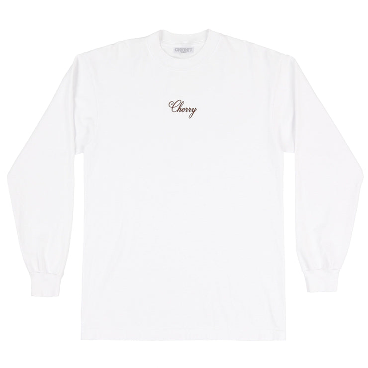 AMERICAN CLASSIC L/S T-SHIRT (PURE WHITE & BROWN)