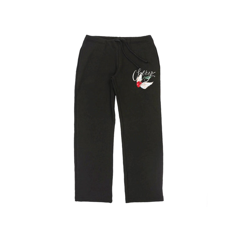 FLYING CHERRY STRAIGHT LEG SWEAT PANTS (BLACK)