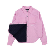 QUILTED CORDUROY SHIRT JACKET (BUBBLE GUM)