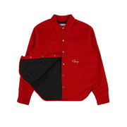 QUILTED CORDUROY SHIRT JACKET (CHERRY RED)