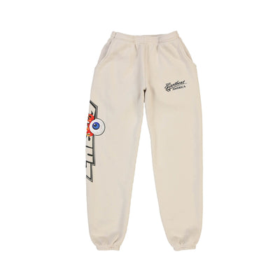 FLAMING EYEBALL SWEAT PANTS (NATURAL)