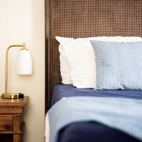 Modern Table Lamp with Vintage Porcelain Shade