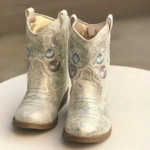 Ivory Champagne Boots-Shoes-Paris Pink & Cowboy Blue Baby Boutique